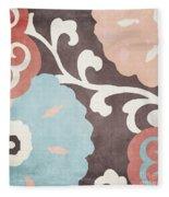 Umbrella Skies II Suzani Pattern Fleece Blanket