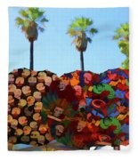 Umbrellas Day Of The Dead Paint  Fleece Blanket