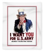 Uncle Sam -- I Want You Fleece Blanket