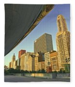 Under The Bean And Chicago Skyline Fleece Blanket