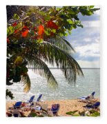 Under The Palms In Puerto Rico Fleece Blanket