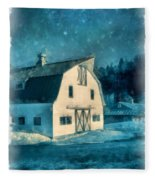 Under The Vermont Moonlight Watercolor Fleece Blanket