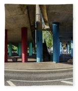 Under The Viaduct A Panoramic Urban View Fleece Blanket