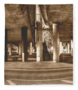 Under The Viaduct B Panoramic Urban View Fleece Blanket