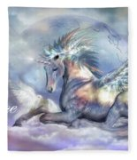 Unicorn Of Peace Card Fleece Blanket
