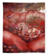 Unicorn Of The Poppies Fleece Blanket
