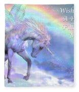 Unicorn Of The Rainbow Card Fleece Blanket