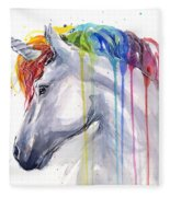 Unicorn Rainbow Watercolor Fleece Blanket