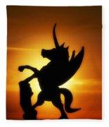 Winged Unicorn Sentinel  Fleece Blanket