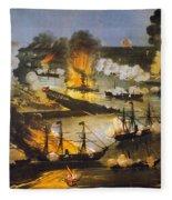 Union Bombardment, 1862 Fleece Blanket