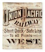 Union Pacific Railroad - Gateway To The West  1883 Fleece Blanket