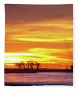 Union Reservoir Sunrise Feb 17 2011 Canvas Print Fleece Blanket