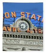 Union Station Sign Fleece Blanket