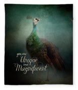 Unique And Magnificent - Peacock Art Fleece Blanket