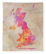 United Kingdom Map Fleece Blanket