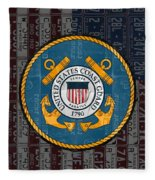 United States Coast Guard Logo Recycled Vintage License Plate Art Fleece Blanket