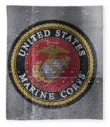 United States Marines Logo On Riveted Steel Fleece Blanket