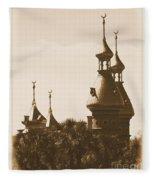 University Of Tampa Minarets With Old Postcard Framing Fleece Blanket