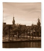 University Of Tampa With River - Sepia Fleece Blanket