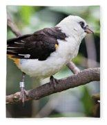 Unknown White Bird On Tree Branch Fleece Blanket