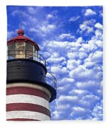 Unmistakable In Any Weather - West Quoddy Head Lighthouse Fleece Blanket