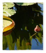 Unopened Water Lily And Reflections Fleece Blanket