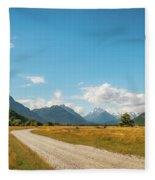 Unspoiled Alpine Scenery From Kinloch-glenorchy Road, Nz Fleece Blanket