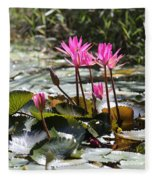 Up Close Water Lilies  Fleece Blanket
