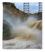 Upper Falls After A Storm Fleece Blanket