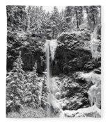 Upper Falls In Snow's Cover Fleece Blanket