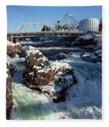 Upper Falls Winter - Spokane Fleece Blanket