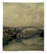 Upstream -bridge D.luis I-oporto Fleece Blanket