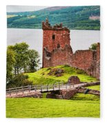 Urquhart  Castle Scotland Fleece Blanket