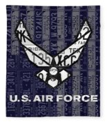 Us Air Force Logo Recycled Vintage License Plate Art Fleece Blanket