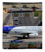Us Airways Airbus A319-132 N826aw Arizona At Phoenix Sky Harbor March 16 2011 Fleece Blanket