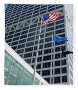 Us Bank With Flags Fleece Blanket