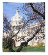 Us Capitol Building And Cherry Fleece Blanket