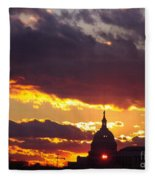 U.s. Capitol Dome At Sunset Fleece Blanket