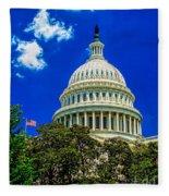 Us Capitol Dome Fleece Blanket