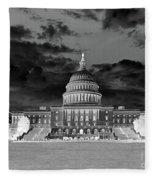 Us Capitol Washington Dc Negative Fleece Blanket