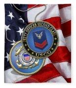 U. S. Coast Guard Petty Officer Second Class - Uscg Po2 Rank Insignia Over Us Flag Fleece Blanket