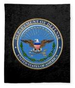 U. S. Department Of Defense - D O D Emblem Over Black Velvet Fleece Blanket