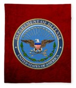 U. S. Department Of Defense - D O D Emblem Over Red Velvet Fleece Blanket