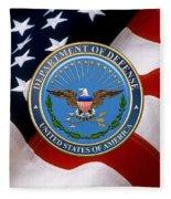 U. S. Department Of Defense - D O D Emblem Over U. S. Flag Fleece Blanket