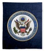 U. S. Department Of State - D O S Emblem Over Blue Velvet Fleece Blanket