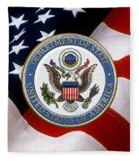 U. S. Department Of State - Dos Emblem Over U.s. Flag Fleece Blanket