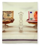 U.s. Dollar And Euro Banknotes On A Pair Of Scales In Vienna Fleece Blanket