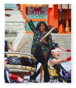 U.s. First Lady Michelle Obama  Plays The Taiko Drum  Fleece Blanket