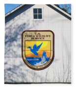 Us Fish And Wildlife Service Sign  3931 Fleece Blanket