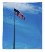 Us Flag At Liberty Island Fleece Blanket